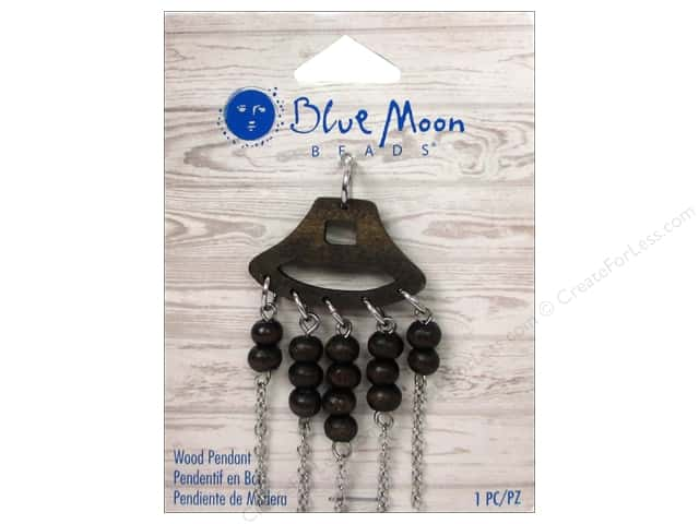 Blue Moon Beads Wood Pendant Wood with Silver Chain & Wood Bead Fringe