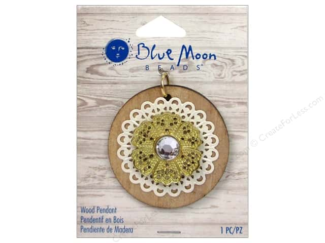 Blue Moon Beads Wood Pendant Wood Round with Gold Flower #2