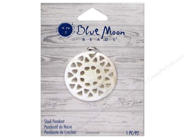 Blue Moon Beads Shell Pendant Round Natural Shell with Cut Out