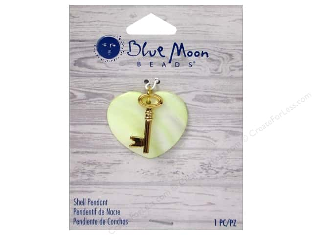 Blue Moon Beads Shell Pendant Shell Heart with Gold Metal Key