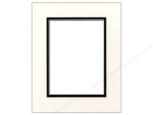 PA Framing Pre-cut Double Photo Mat Board Cream Core 8 x 10 in. for 5 x 7 in. Photo Antique White/Black