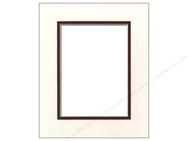 Pre-cut Double Photo Mat Board by Accent Design Cream Core 8 x 10 in. for 5 x 7 in. Photo Antique White/Maroon