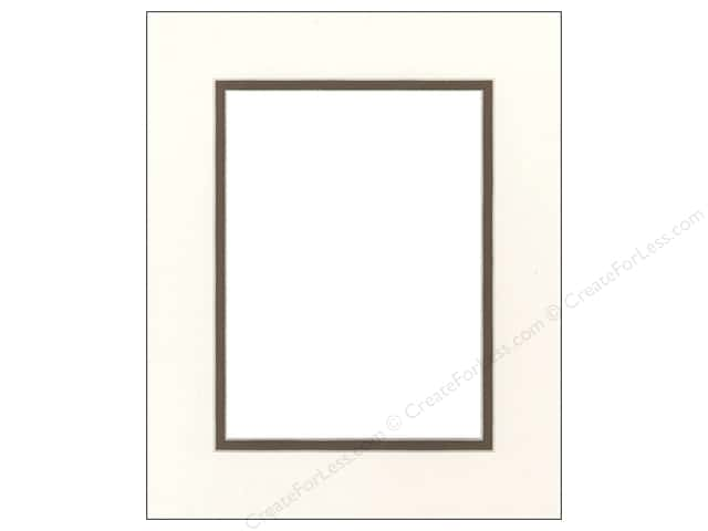Pre-cut Double Photo Mat Board by Accent Design Cream Core 8 x 10 in. for 5 x 7 in. Photo Antique White/Chestnut