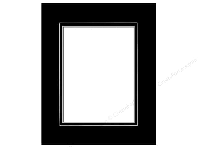Pre-cut Double Photo Mat Board by Accent Design White Core 8 x 10 in. for 5 x 7 in. Photo Black/Black
