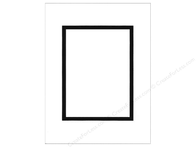 Pre-cut Double Photo Mat Board by Accent Design Black Core 9 x 12 in. for 6 x 8 in. Photo White/Black