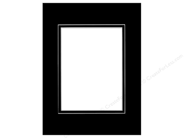 PA Framing Pre-cut Double Photo Mat Board White Core 9 x 12 in. for 6 x 8 in. Photo Black/Black