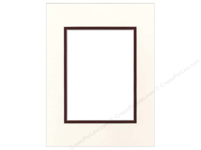Pre-cut Double Photo Mat Board by Accent Design Cream Core 9 x 12 in. for 6 x 8 in. Photo Antique White/Maroon