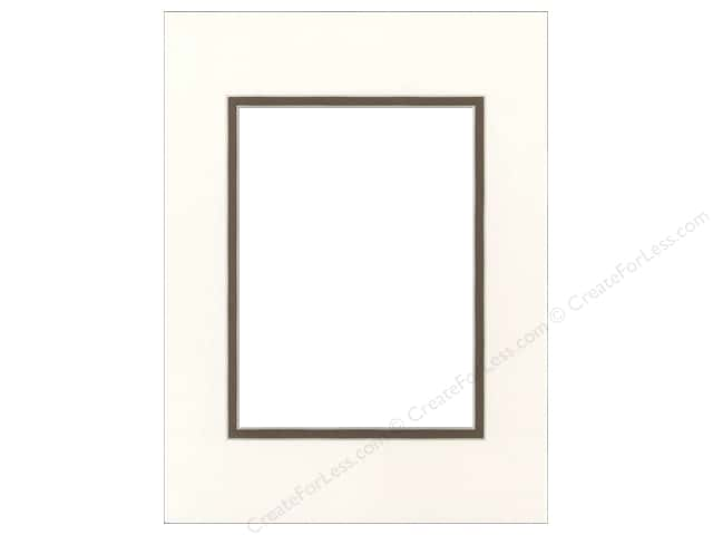 Pre-cut Double Photo Mat Board by Accent Design Cream Core 9 x 12 in. for 6 x 8 in. Photo Antique White/Chestnut