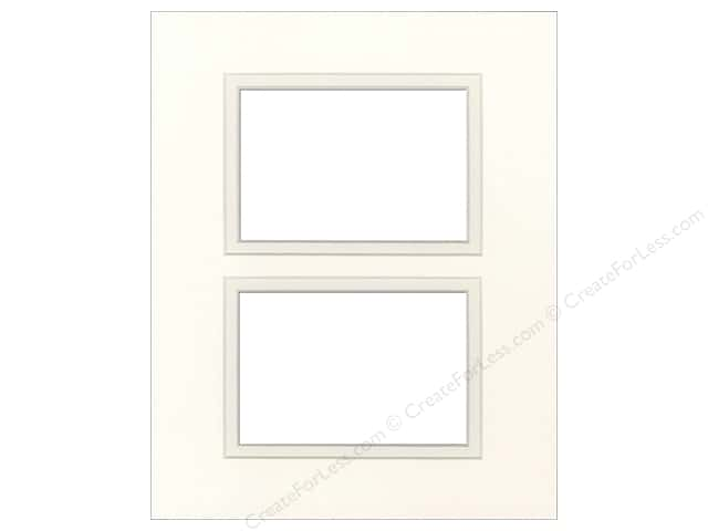 Pre-cut Double Photo Mat Board by Accent Design Cream Core 8 x 10 in. 2 Openings Antique White/Antique White