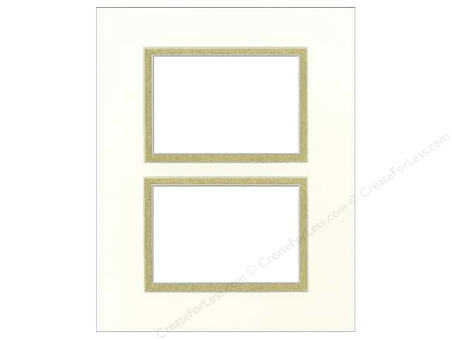 Pre-cut Double Photo Mat Board by Accent Design Cream Core 8 x 10 in. 2 Openings Antique White/Gold