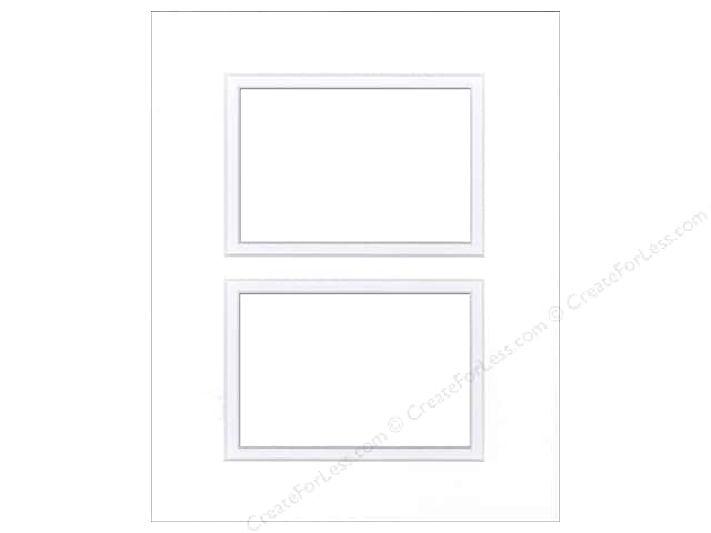 Pre-cut Double Photo Mat Board by Accent Design Cream Core 8 x 10 in. 2 Openings White/White