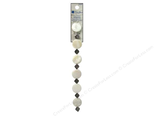 Blue Moon Beads Wood & Shell Strand Metal Diamond 7 in. Silver