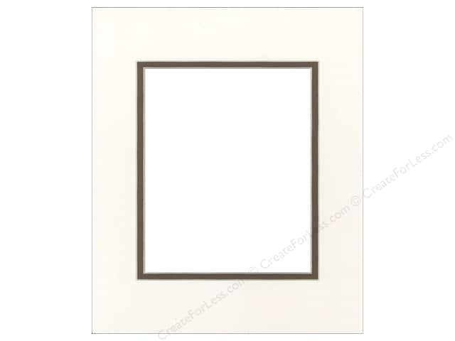 Pre-cut Double Photo Mat Board by Accent Design Cream Core 14 x 18 in. for 10 x 13 in. Photo Antique White/Chestnut