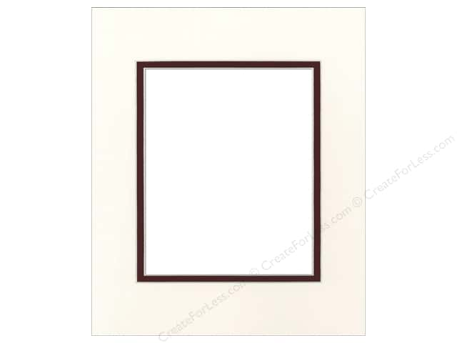 Pre-cut Double Photo Mat Board by Accent Design Cream Core 14 x 18 in. for 10 x 13 in. Photo Antique White/Maroon
