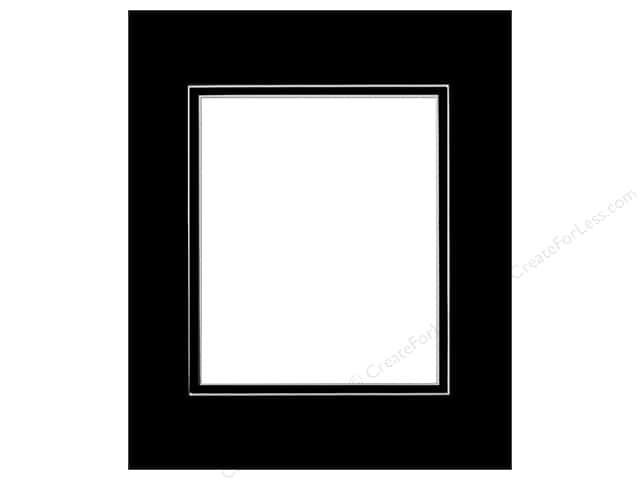 Pre-cut Double Photo Mat Board by Accent Design White Core 14 x 18 in. for 10 x 13 in. Photo Black/Black
