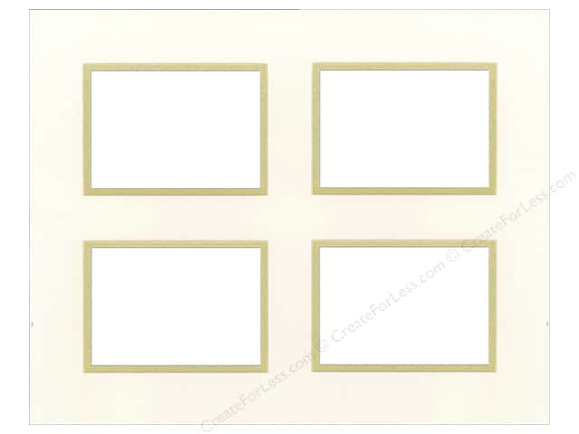 Pre-cut Double Photo Mat Board by Accent Design Cream Core 16 x 20 in. 4 Openings Antique White/Gold
