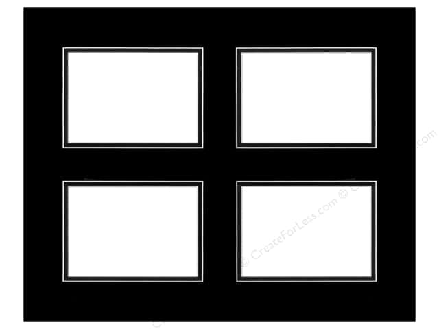 Pre-cut Double Photo Mat Board by Accent Design White Core 16 x 20 in. 4 Openings Black/Black