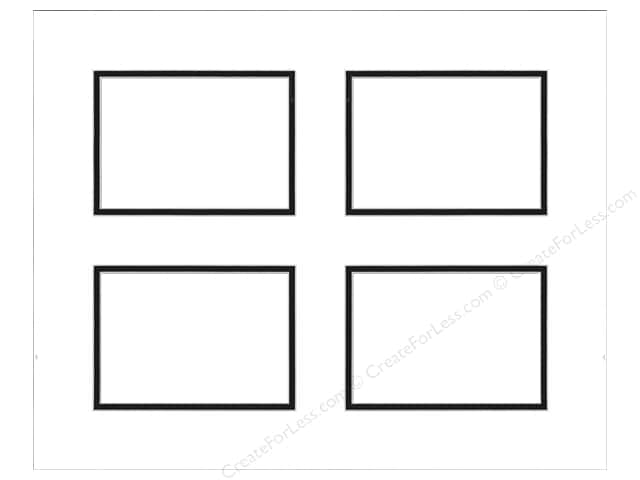 Pre-cut Double Photo Mat Board by Accent Design White Core 16 x 20 in. 4 Openings White/Black