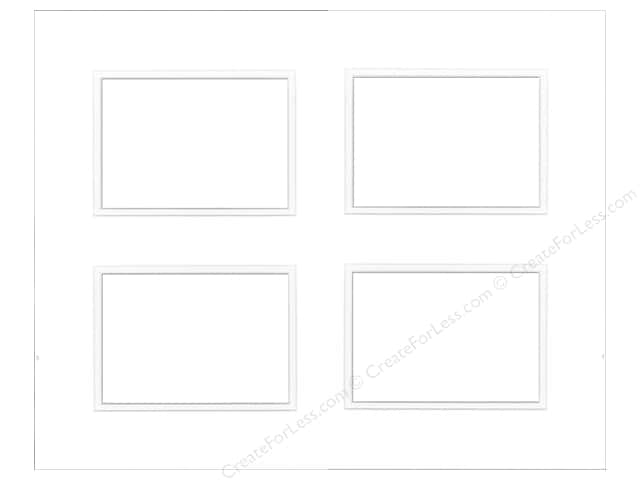 Pre-cut Double Photo Mat Board by Accent Design White Core 16 x 20 in. 4 Openings White/White