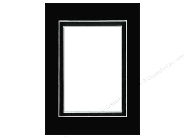 Pre-cut Double Photo Mat Board by Accent Design White Core 5 x 7 in. for 3 1/2 x 5 in. Photo Black/Black