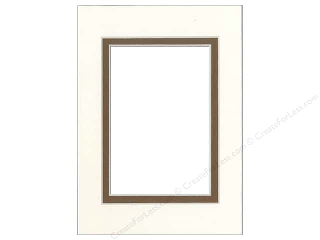 Pre-cut Double Photo Mat Board by Accent Design Cream Core 5 x 7 in. for 3 1/2 x 5 in. Photo Antique White/Chestnut