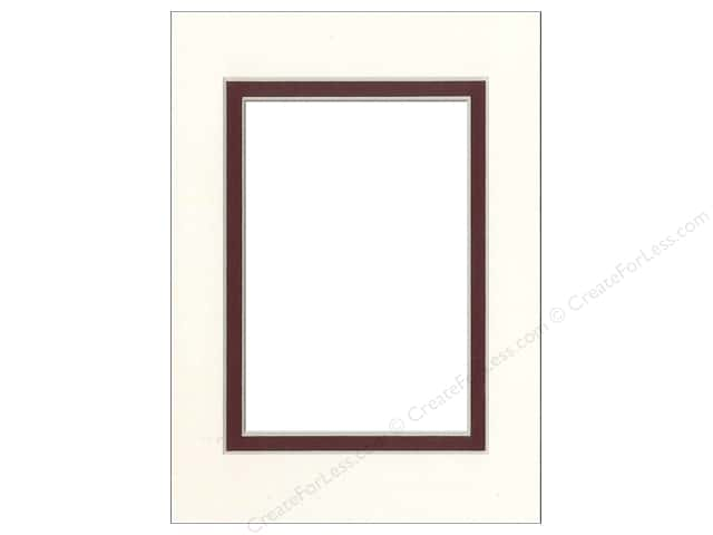 Pre-cut Double Photo Mat Board by Accent Design Cream Core 5 x 7 in. for 3 1/2 x 5 in. Photo Antique White/Maroon