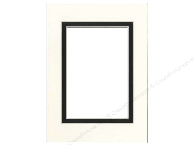 PA Framing Pre-cut Double Photo Mat Board Cream Core 5 x 7 in. for 3 1/2 x 5 in. Photo White/Black