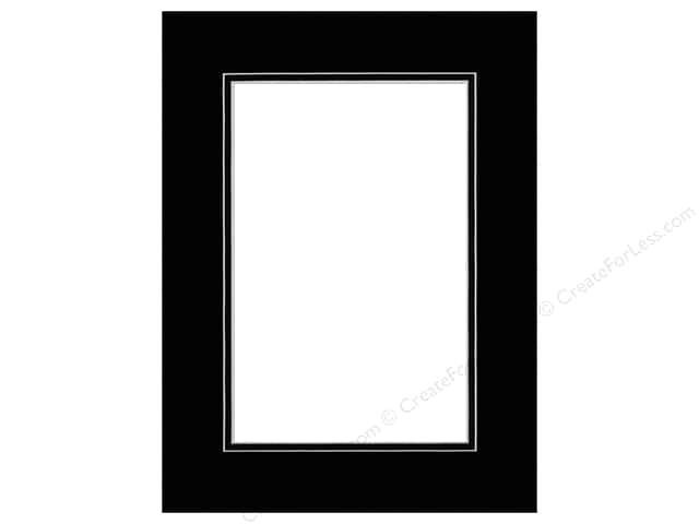 Pre-cut Double Photo Mat Board by Accent Design White Core 12 x 16 in. for 8 x 12 in. Photo Black/Black