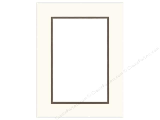 Pre-cut Double Photo Mat Board by Accent Design Cream Core 12 x 16 in. for 8 x 12 in. Photo White/Chestnut