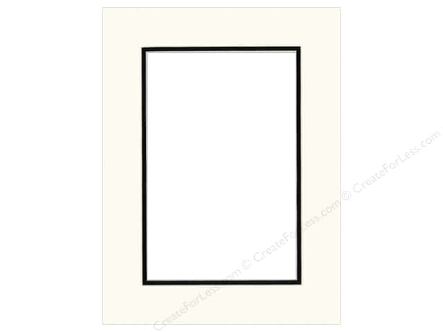 Pre-cut Double Photo Mat Board by Accent Design Cream Core 12 x 16 in. for 8 x 12 in. Photo White/Black