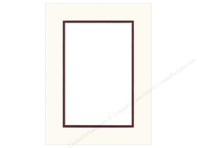 Pre-cut Double Photo Mat Board by Accent Design Cream Core 12 x 16 in. for 8 x 12 in. Photo White/Maroon