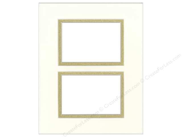 Pre-cut Double Photo Mat Board by Accent Design Cream Core 11 x 14 in. 2 Openings Antique White/Gold