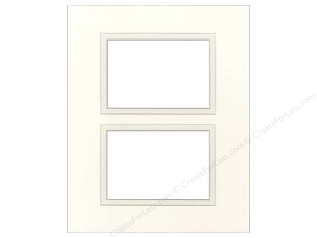 Pre-cut Double Photo Mat Board by Accent Design Cream Core 11 x 14 in. 2 Openings Antique White/Antique White