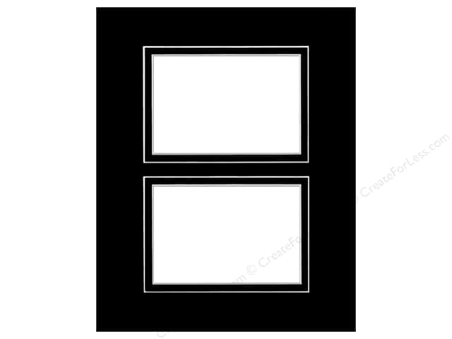 Pre-cut Double Photo Mat Board by Accent Design White Core 11 x 14 in. 2 Openings Black/Black