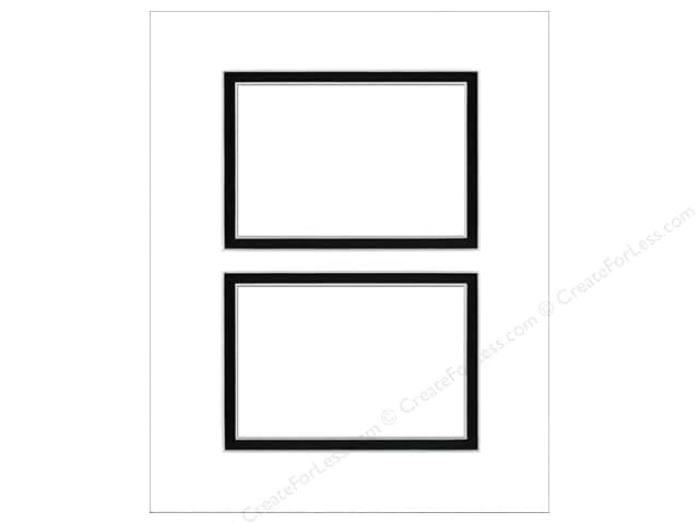 Pre-cut Double Photo Mat Board by Accent Design White Core 11 x 14 in. 2 Openings White/Black
