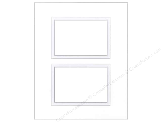 Pre-cut Double Photo Mat Board by Accent Design White Core 11 x 14 in. 2 Openings White/White