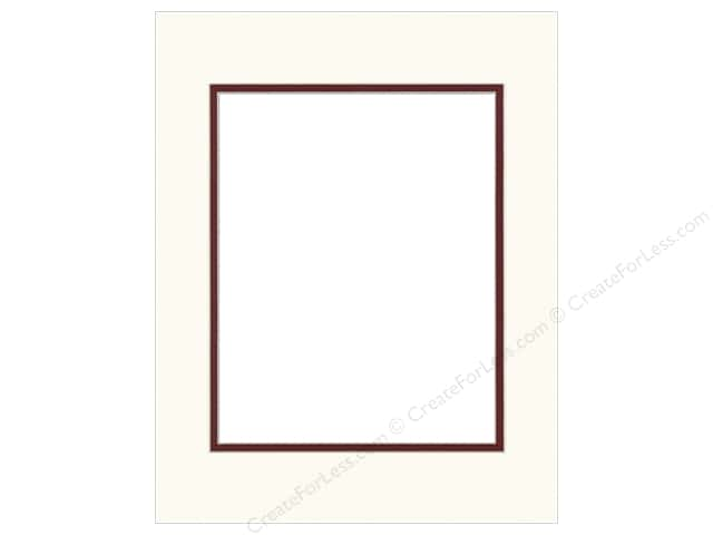 Pre-cut Double Photo Mat Board by Accent Design Cream Core 11 x 14 in. for 8 x 10 in. Photo White/Maroon
