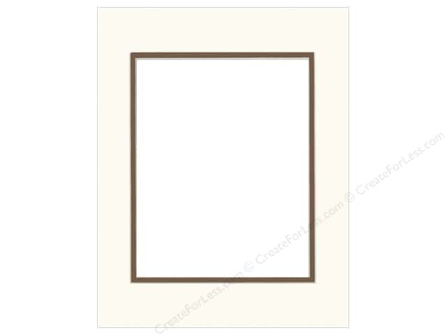 Pre-cut Double Photo Mat Board by Accent Design Cream Core 11 x 14 in. for 8 x 10 in. Photo White/Chestnut
