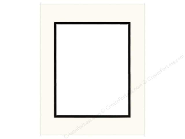 PA Framing Pre-cut Double Photo Mat Board Cream Core 11 x 14 in. for 8 x 10 in. Photo Antique White/Black