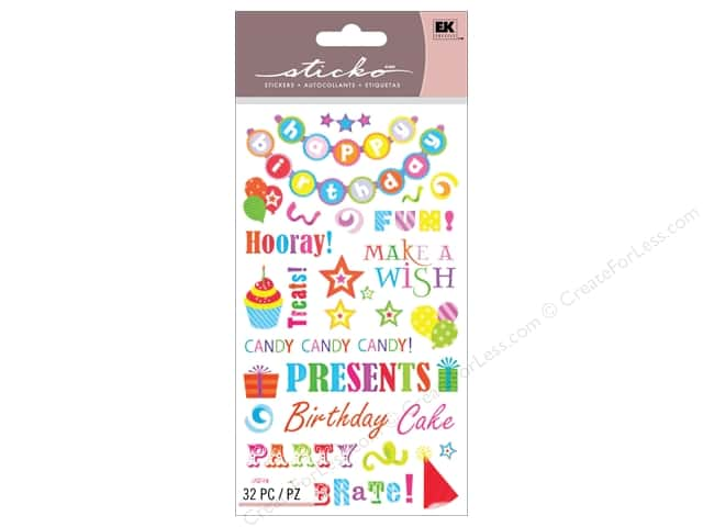 EK Sticko Stickers Birthday Phrases