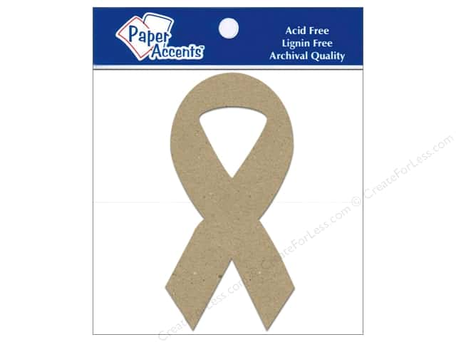Paper Accents Chipboard Shape Cause Ribbon 8 pc. Kraft