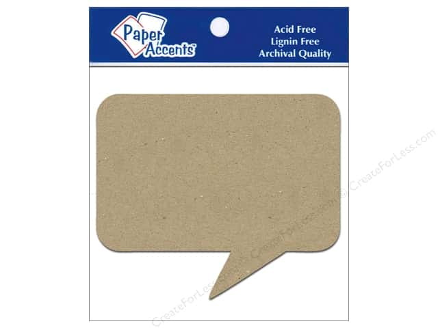 Paper Accents Chipboard Shape Caption 8 pc. Kraft