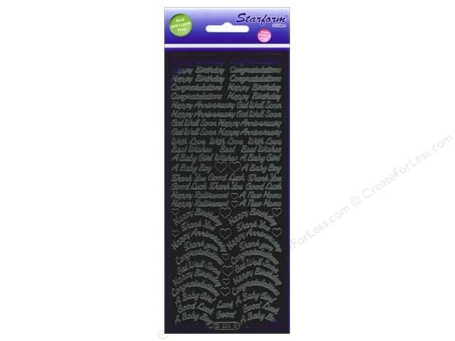 Starform Peel Off Sticker Words Assorted Black
