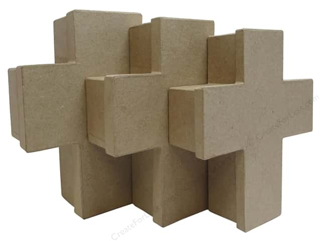 PA Paper Mache Cross Box Set of 3