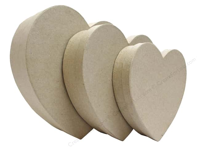 Paper Mache Shallow Heart Set of 3 by Craft Pedlars (12 sets)