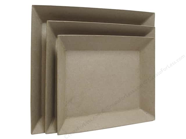 Paper Mache Rectangle Tray Set of 3 by Craft Pedlars