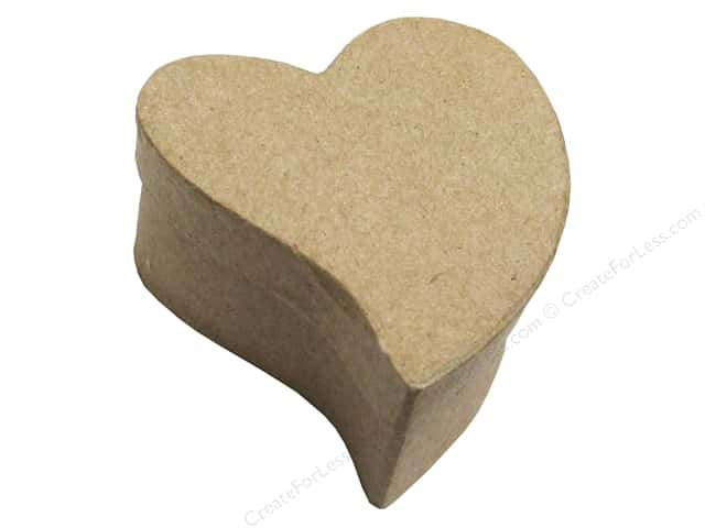 PA Paper Mache Mini Curved Heart Box 4 in.