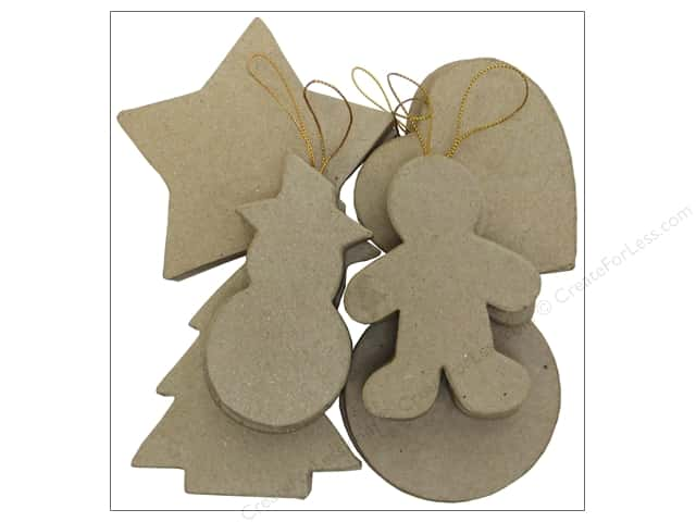 Paper Mache Ornaments Assortment Kraft 12pc by Craft Pedlars