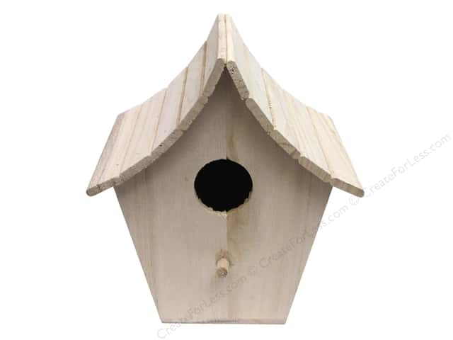 Sierra Pacific Wood Birdhouse Slat Curved Roof Unfinished