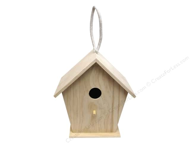 Sierra Pacific Crafts Wood Birdhouse Straight Roof With Rope